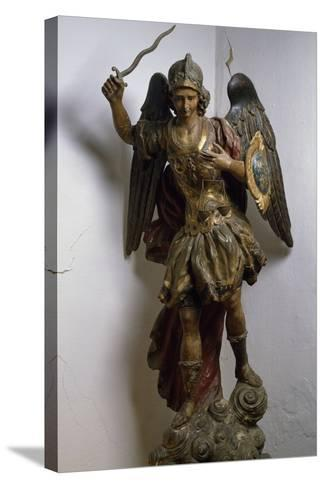 Archangel Michael, Polychrome and Gilded Wood Statue, Roman Manufacture, Italy, 17th Century--Stretched Canvas Print
