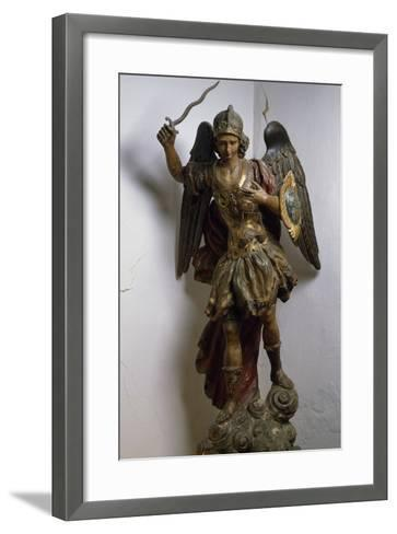 Archangel Michael, Polychrome and Gilded Wood Statue, Roman Manufacture, Italy, 17th Century--Framed Art Print