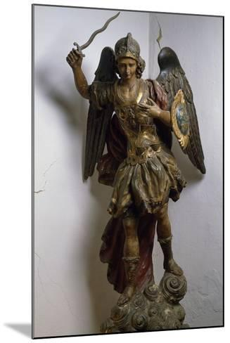 Archangel Michael, Polychrome and Gilded Wood Statue, Roman Manufacture, Italy, 17th Century--Mounted Giclee Print