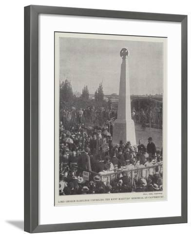 Lord George Hamilton Unveiling the Kent Martyrs' Memorial at Canterbury--Framed Art Print