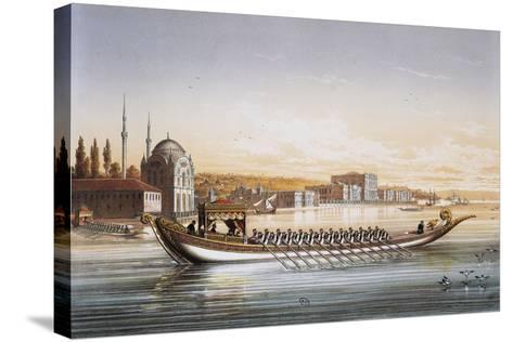 Sultan's Palace and Boats Parade in Turkey in 1855, Print by Lemercier, 19th Century--Stretched Canvas Print