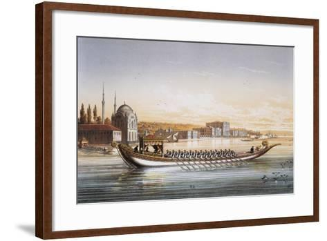 Sultan's Palace and Boats Parade in Turkey in 1855, Print by Lemercier, 19th Century--Framed Art Print