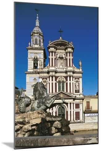 Fountain in Front of a Church, St. Sebastian, Caltanisetta, Sicily, Italy--Mounted Giclee Print