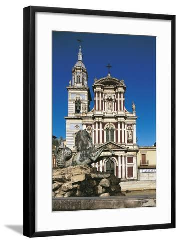 Fountain in Front of a Church, St. Sebastian, Caltanisetta, Sicily, Italy--Framed Art Print