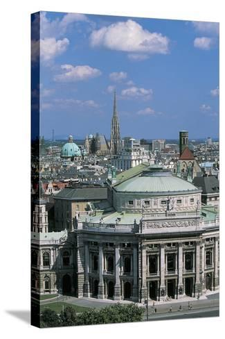 High Angle View of a Theater Building in a City, Burgtheater, Vienna, Austria--Stretched Canvas Print