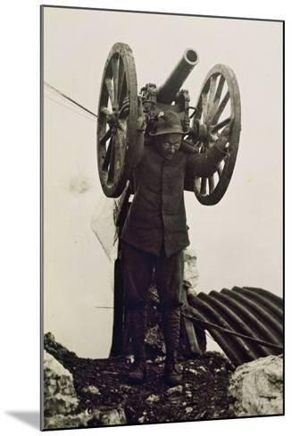 Alpino Soldier Carrying a Piece of Mountain Artillery. World War I, Italy, 20th Century--Mounted Giclee Print