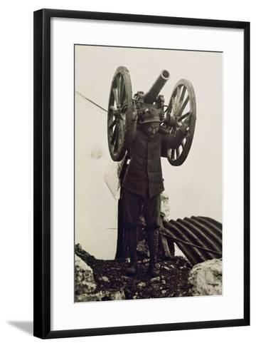 Alpino Soldier Carrying a Piece of Mountain Artillery. World War I, Italy, 20th Century--Framed Art Print