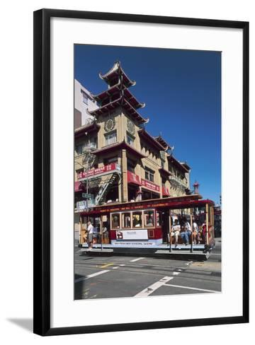 Tram in Front of a Building, Grant Avenue, Chinatown, San Francisco, California, Usa--Framed Art Print