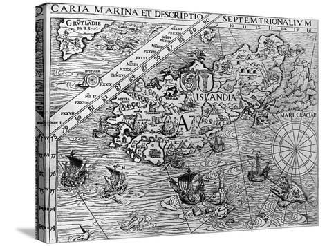 Iceland, Circa 1539, Detail from Carta Marina by Swedish Archbishop, Olaus Magnus (1490-1557)--Stretched Canvas Print