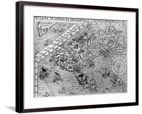 Iceland, Circa 1539, Detail from Carta Marina by Swedish Archbishop, Olaus Magnus (1490-1557)--Framed Art Print