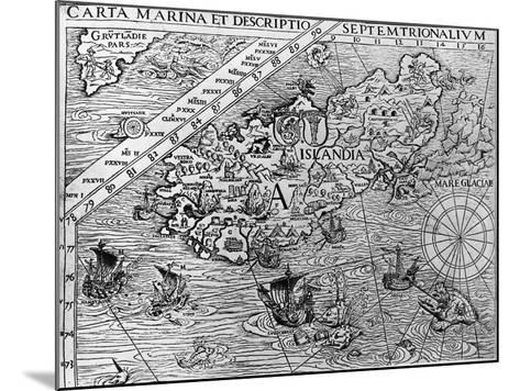 Iceland, Circa 1539, Detail from Carta Marina by Swedish Archbishop, Olaus Magnus (1490-1557)--Mounted Giclee Print