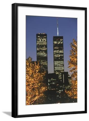 Buildings Lit Up at Night, Manhattan, New York City, New York State, Usa--Framed Art Print