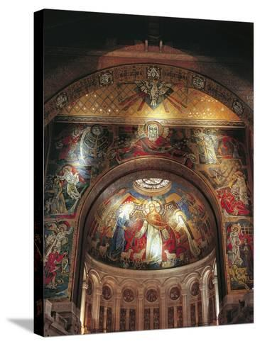 Mural on the Wall of a Basilica, St. Therese's Basilica, Lisieux, Basse-Normandy, France--Stretched Canvas Print