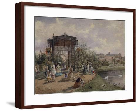 High Angle View of a Group of People Walking in a Park, Bastion Promenade, Vienna, Austria--Framed Art Print