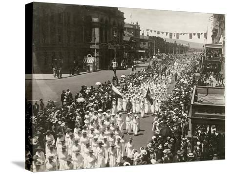 Women Holding a Peace Day March Along King William Street, Adelaide, South Australia, November 1918--Stretched Canvas Print