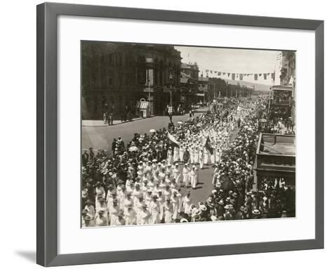 Women Holding a Peace Day March Along King William Street, Adelaide, South Australia, November 1918--Framed Art Print