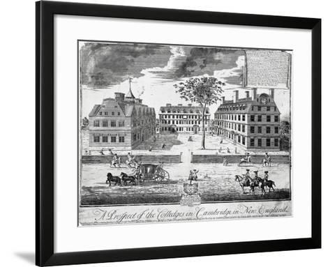 Facades of Colleges of Cambridge (Harvard University), United States of America, 18th Century--Framed Art Print