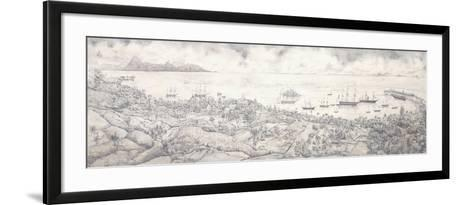 View of Papeete, Tahiti, Overlooking the Harbour Towards Moorea, Mid 19th Century (Pencil)--Framed Art Print