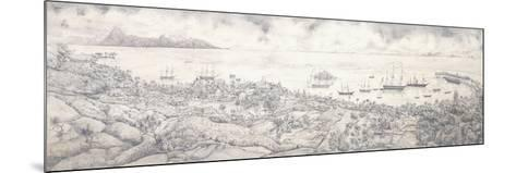 View of Papeete, Tahiti, Overlooking the Harbour Towards Moorea, Mid 19th Century (Pencil)--Mounted Giclee Print