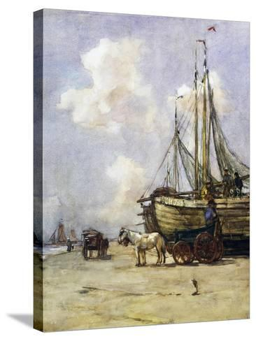 Boat Being Towed Towards Beach by Johan Akkeringa (1864-1942), Watercolour, 19th Century--Stretched Canvas Print