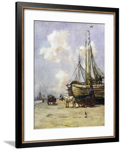 Boat Being Towed Towards Beach by Johan Akkeringa (1864-1942), Watercolour, 19th Century--Framed Art Print