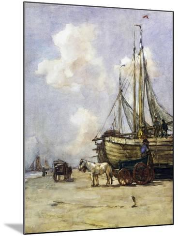 Boat Being Towed Towards Beach by Johan Akkeringa (1864-1942), Watercolour, 19th Century--Mounted Giclee Print