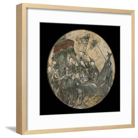 A Polychrome Fresco Depicting a Female Dignitary Holding a Ruyi Sceptre While Seated in a Phoenix D--Framed Art Print