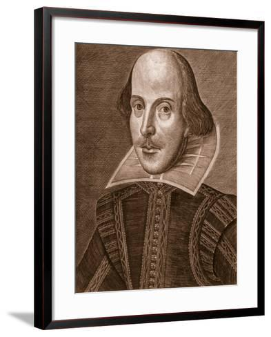 Portrait of William Shakespeare, Engraved by Martin Droeshout (C.1560-C.1642), 1623--Framed Art Print
