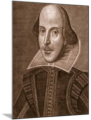 Portrait of William Shakespeare, Engraved by Martin Droeshout (C.1560-C.1642), 1623--Mounted Giclee Print