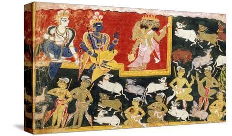 Brahma Offering Homage to Krishna as the Incarnation of Vishnu, C.1540-1575--Stretched Canvas Print
