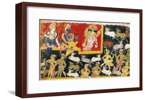 Brahma Offering Homage to Krishna as the Incarnation of Vishnu, C.1540-1575--Framed Art Print
