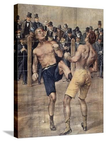 One of First Savate Meetings, French Boxing, Fought in Paris in 1899, Colour. France, 19th Century--Stretched Canvas Print