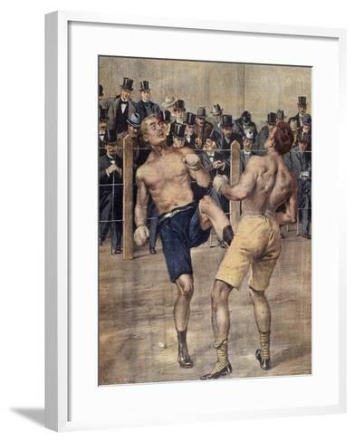 One of First Savate Meetings, French Boxing, Fought in Paris in 1899, Colour. France, 19th Century--Framed Art Print
