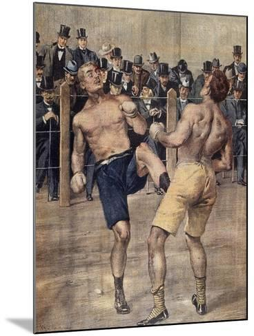 One of First Savate Meetings, French Boxing, Fought in Paris in 1899, Colour. France, 19th Century--Mounted Giclee Print