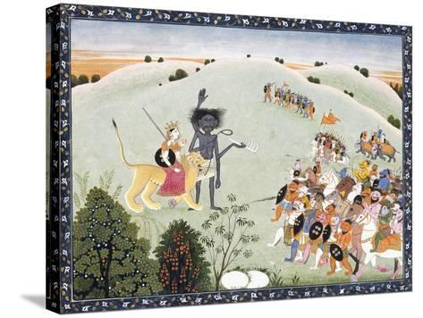 Durga and Kali Standing before the Advancing Host of Demons, C.1800-1820--Stretched Canvas Print