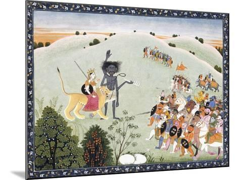 Durga and Kali Standing before the Advancing Host of Demons, C.1800-1820--Mounted Giclee Print