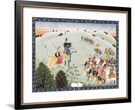 Durga and Kali Standing before the Advancing Host of Demons, C.1800-1820--Framed Art Print