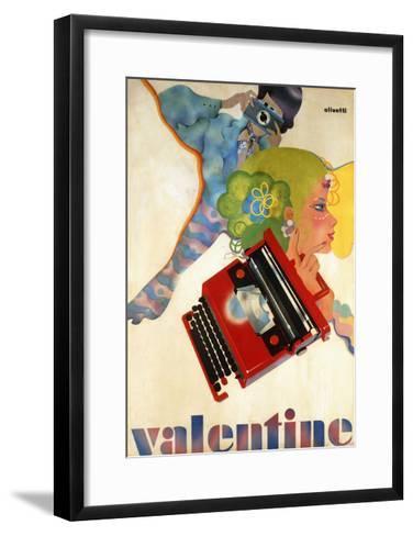 An Olivetti 'Valentine' Typewriter Promotional Poster, C.1969 (Colour Print, Wooden Frame)--Framed Art Print