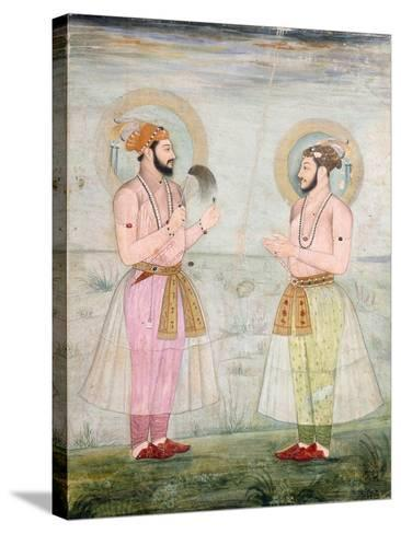 Portraits of Prince Dara Shikoh and Prince Sulaiman Shikoh Nimbate, C.1665 (Gouache on Parchment)--Stretched Canvas Print