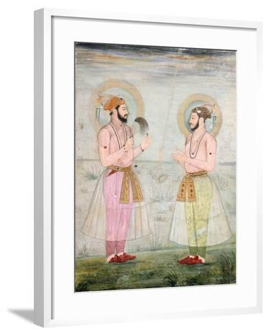 Portraits of Prince Dara Shikoh and Prince Sulaiman Shikoh Nimbate, C.1665 (Gouache on Parchment)--Framed Art Print