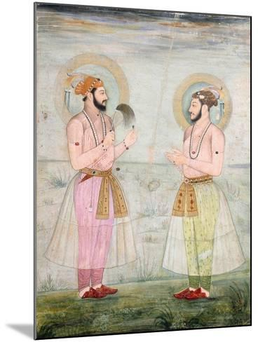 Portraits of Prince Dara Shikoh and Prince Sulaiman Shikoh Nimbate, C.1665 (Gouache on Parchment)--Mounted Giclee Print