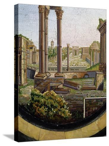 View of Classical Ruins, Marble Gueridon Table Top Inlay, Rome, Ca 1840, Italy, 19th Century--Stretched Canvas Print