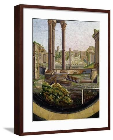 View of Classical Ruins, Marble Gueridon Table Top Inlay, Rome, Ca 1840, Italy, 19th Century--Framed Art Print