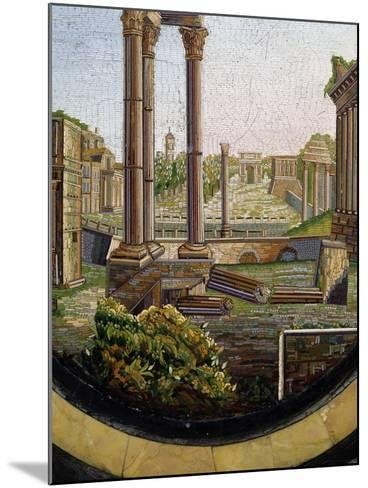 View of Classical Ruins, Marble Gueridon Table Top Inlay, Rome, Ca 1840, Italy, 19th Century--Mounted Giclee Print