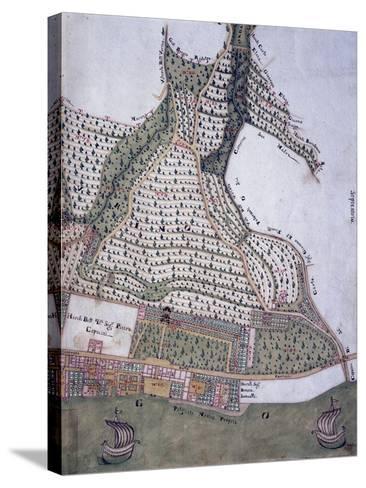 Map of Park and Villa of Bettoni Counts in Bogliago, Gargnano, Lake Garda, Italy, 18th Century--Stretched Canvas Print