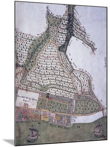 Map of Park and Villa of Bettoni Counts in Bogliago, Gargnano, Lake Garda, Italy, 18th Century--Mounted Giclee Print