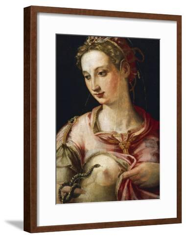 Suicide of Cleopatra by Michele Tosini (1503-1577), Oil on Wood, 44X33 Cm, 16th Century--Framed Art Print
