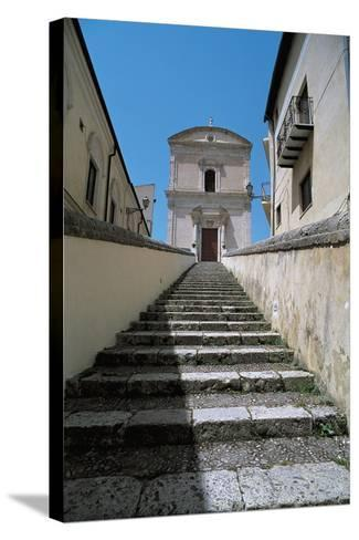 Low Angle View of Buildings Along a Staircase, Racalmuto, Sicily, Italy--Stretched Canvas Print