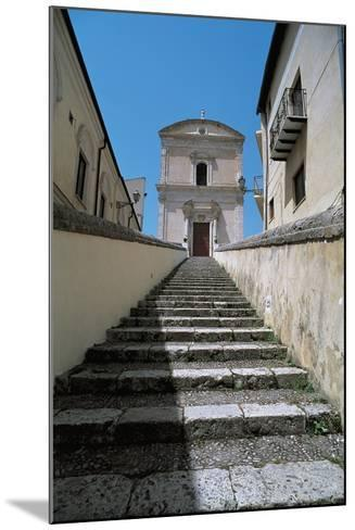 Low Angle View of Buildings Along a Staircase, Racalmuto, Sicily, Italy--Mounted Giclee Print