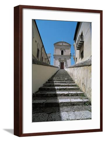 Low Angle View of Buildings Along a Staircase, Racalmuto, Sicily, Italy--Framed Art Print